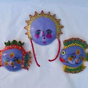 Coconut Head Wall Hangers Mexican Folk Art Purples